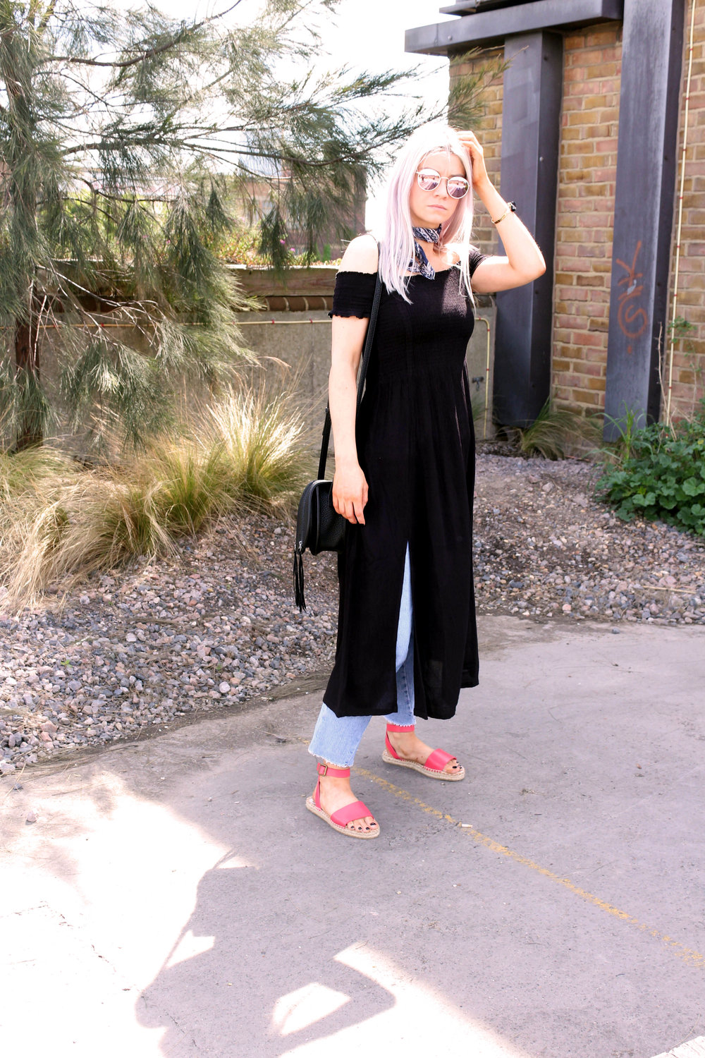 smocking dress, espadrilles, mirror sunglasses, saddle bag, superdry, northern magpie, joey taylor 4
