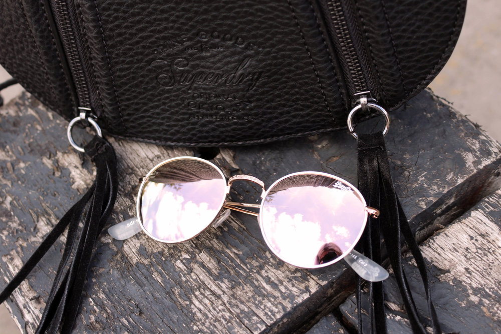 mirror sunglasses, saddle bag, superdry, northern magpie, joey taylor