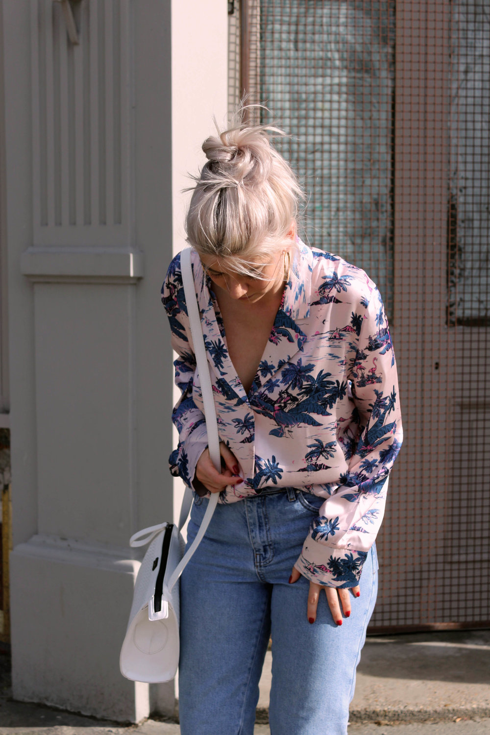 silk pyjama top, denim topshop jeans, northern magpie
