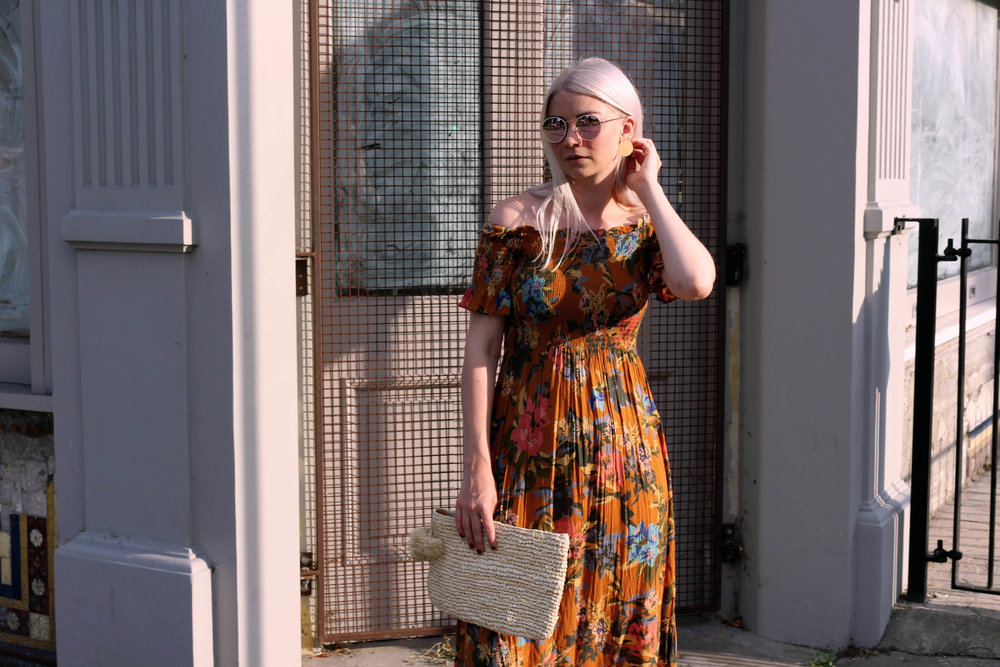 summer dress, off the shoulder dress, straw bag, round sunglasses, northern magpie, joey taylor