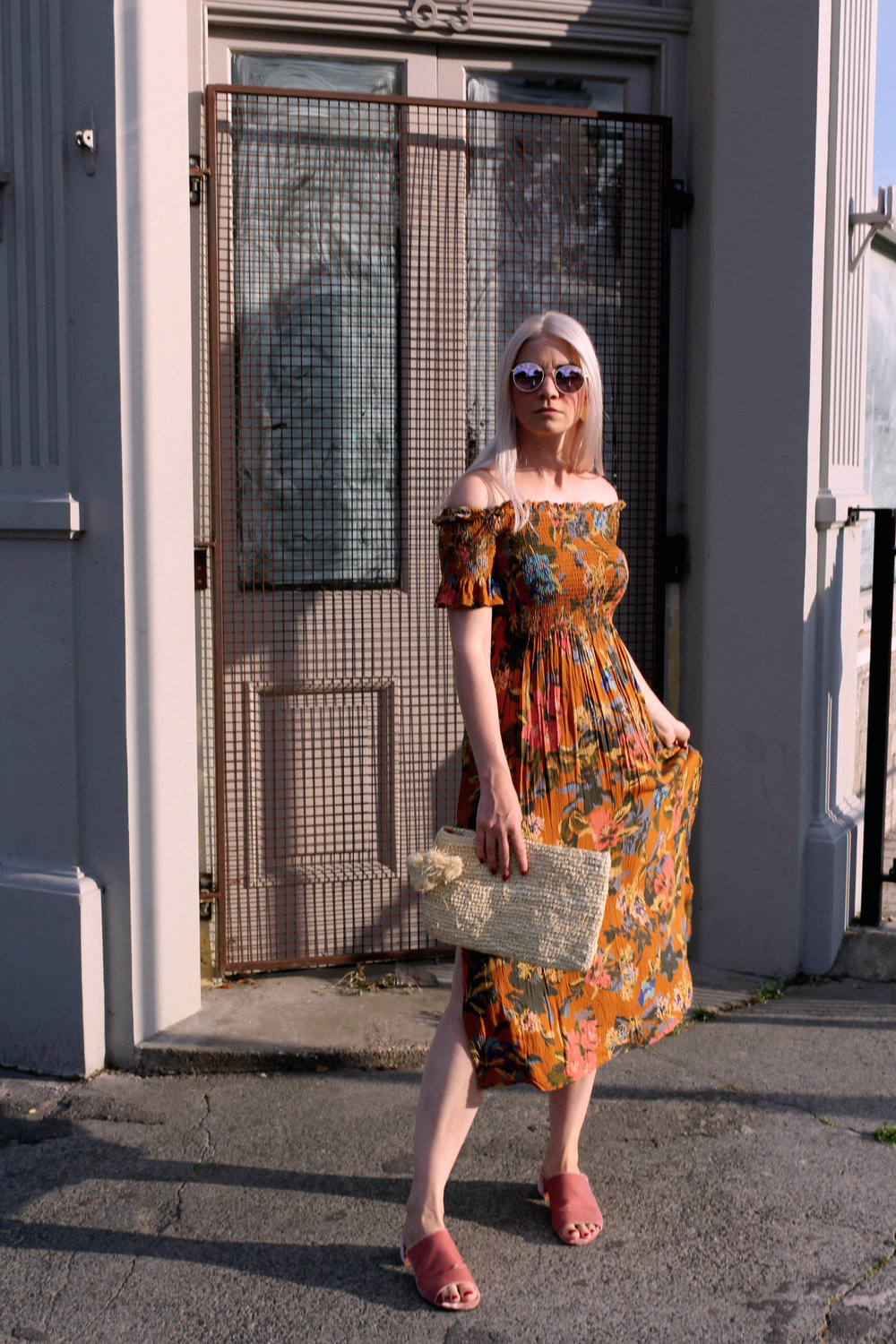 summer dress, off the shoulder dress, straw bag, round sunglasses, northern magpie, joey taylor 2