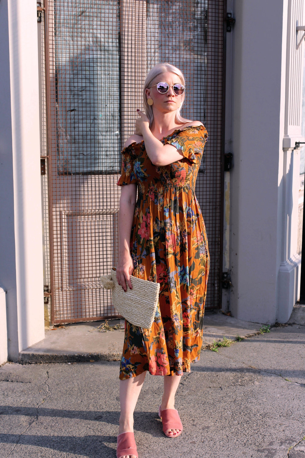 summer dress, off the shoulder dress, straw bag, round sunglasses, northern magpie, joey taylor 5
