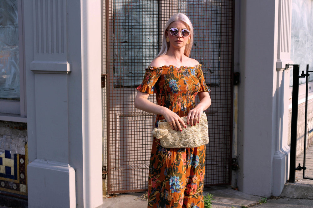 summer dress, off the shoulder dress, straw bag, round sunglasses, northern magpie, joey taylor 7