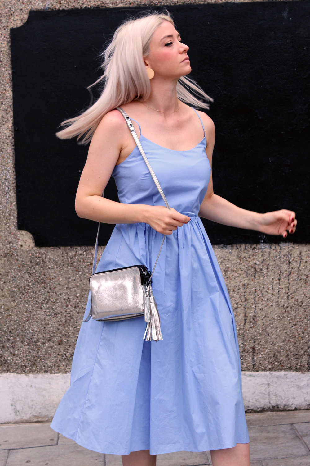 summer dress, and other stories dress, strappy dress, white blonde hair, northern magpie 4