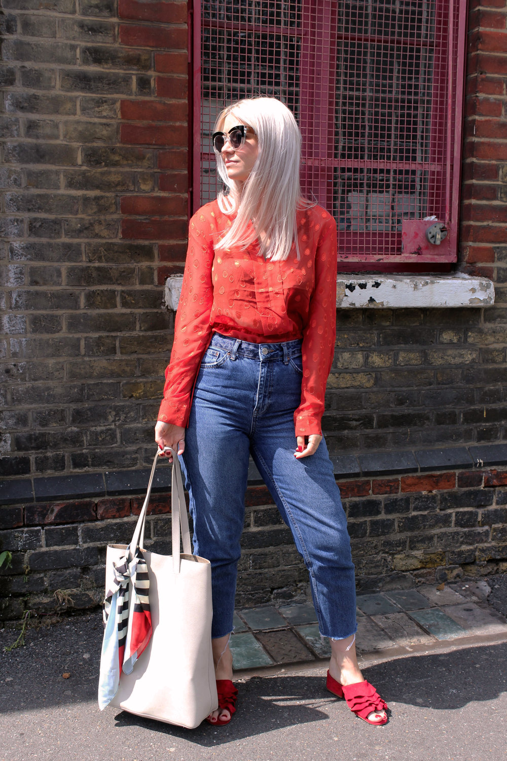 red sheer top, topshop denim jeans, red mules, ruffles, northern magpie, joey taylor 2