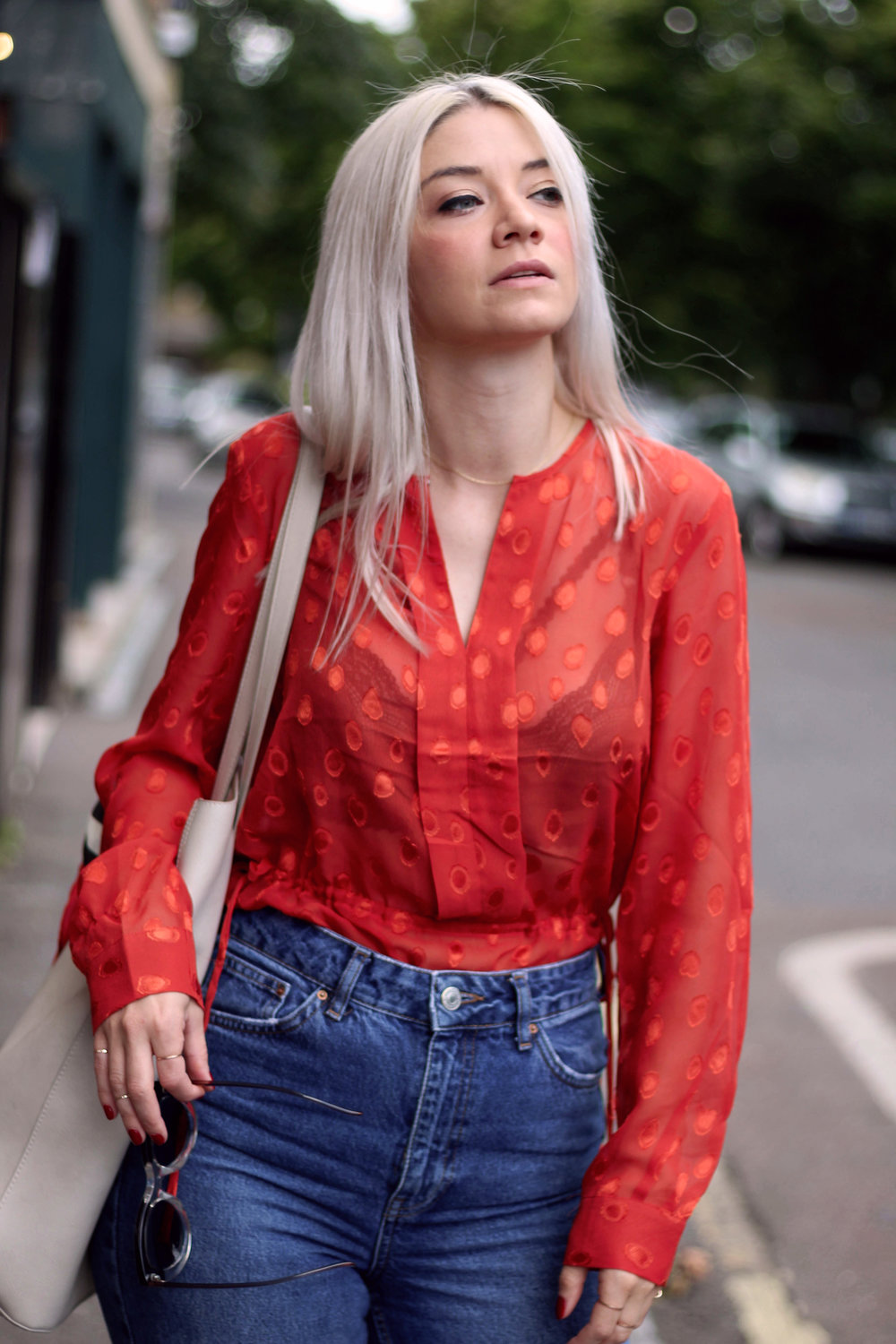 red sheer top, topshop denim jeans, red mules, ruffles, northern magpie, joey taylor 3