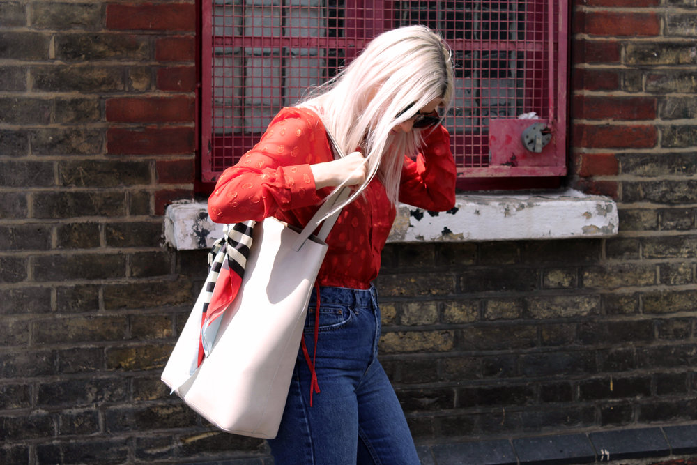 red sheer top, topshop denim jeans, red mules, ruffles, northern magpie, joey taylor 4
