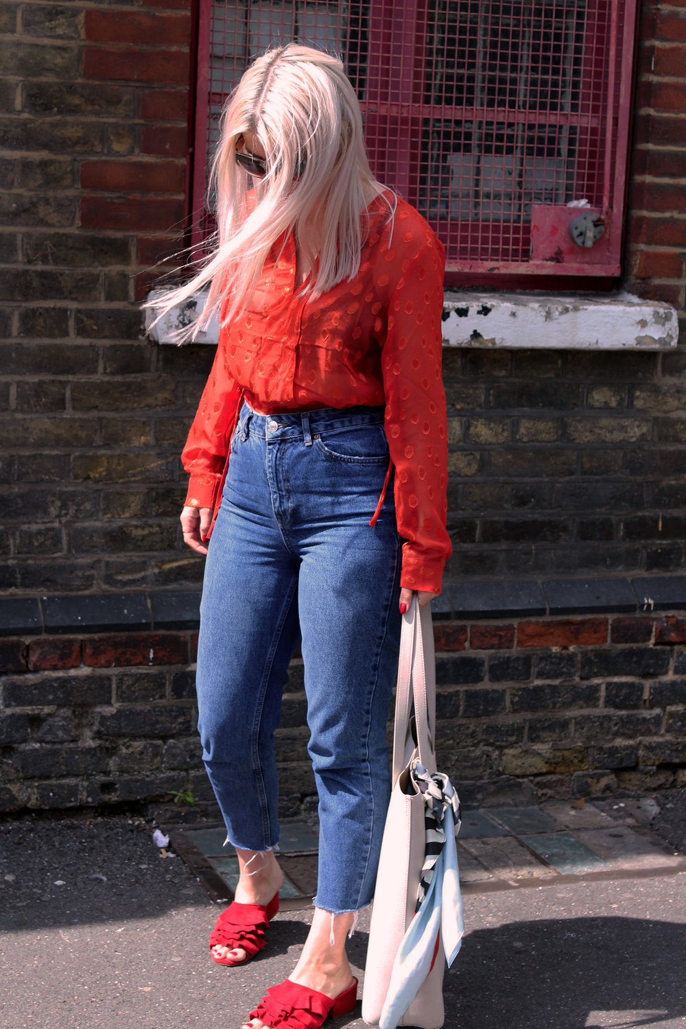 red sheer top, topshop denim jeans, red mules, ruffles, northern magpie, joey taylor 7