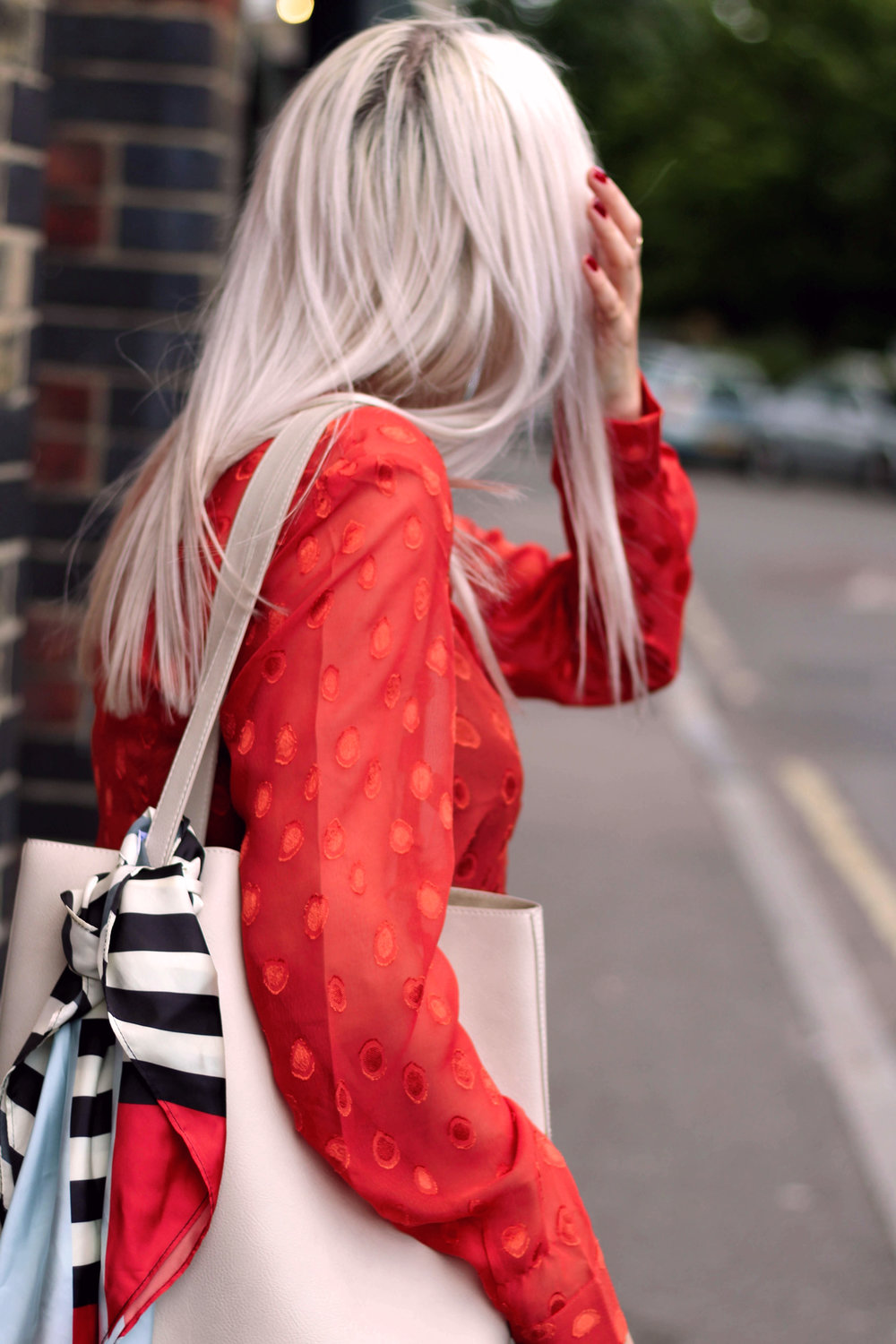 red sheer top, topshop denim jeans, red mules, ruffles, northern magpie, joey taylor 8