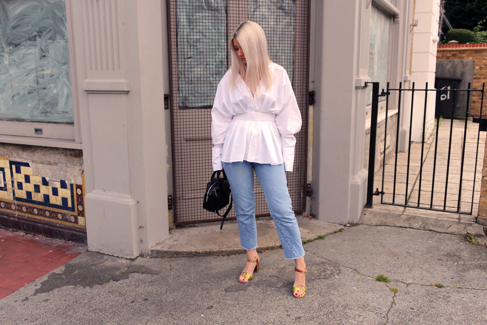 white shirt, topshop jeans, oriental sandals, white blonde hair, northern magpie, joey taylor 1