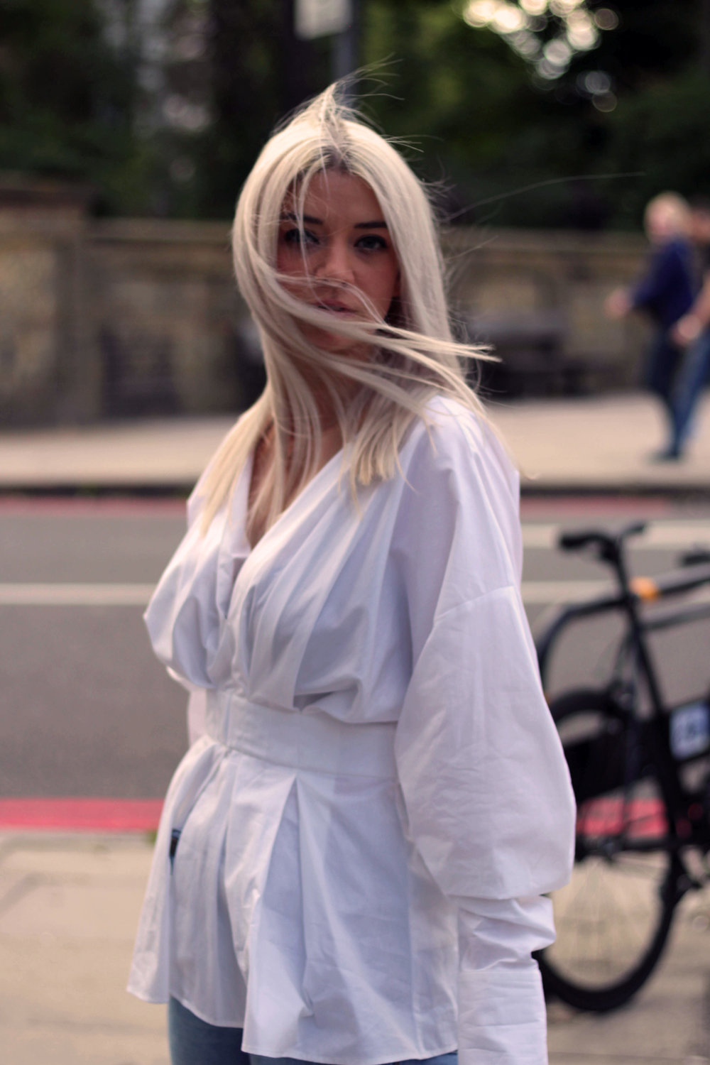 white shirt, topshop jeans, oriental sandals, white blonde hair, northern magpie, joey taylor 2