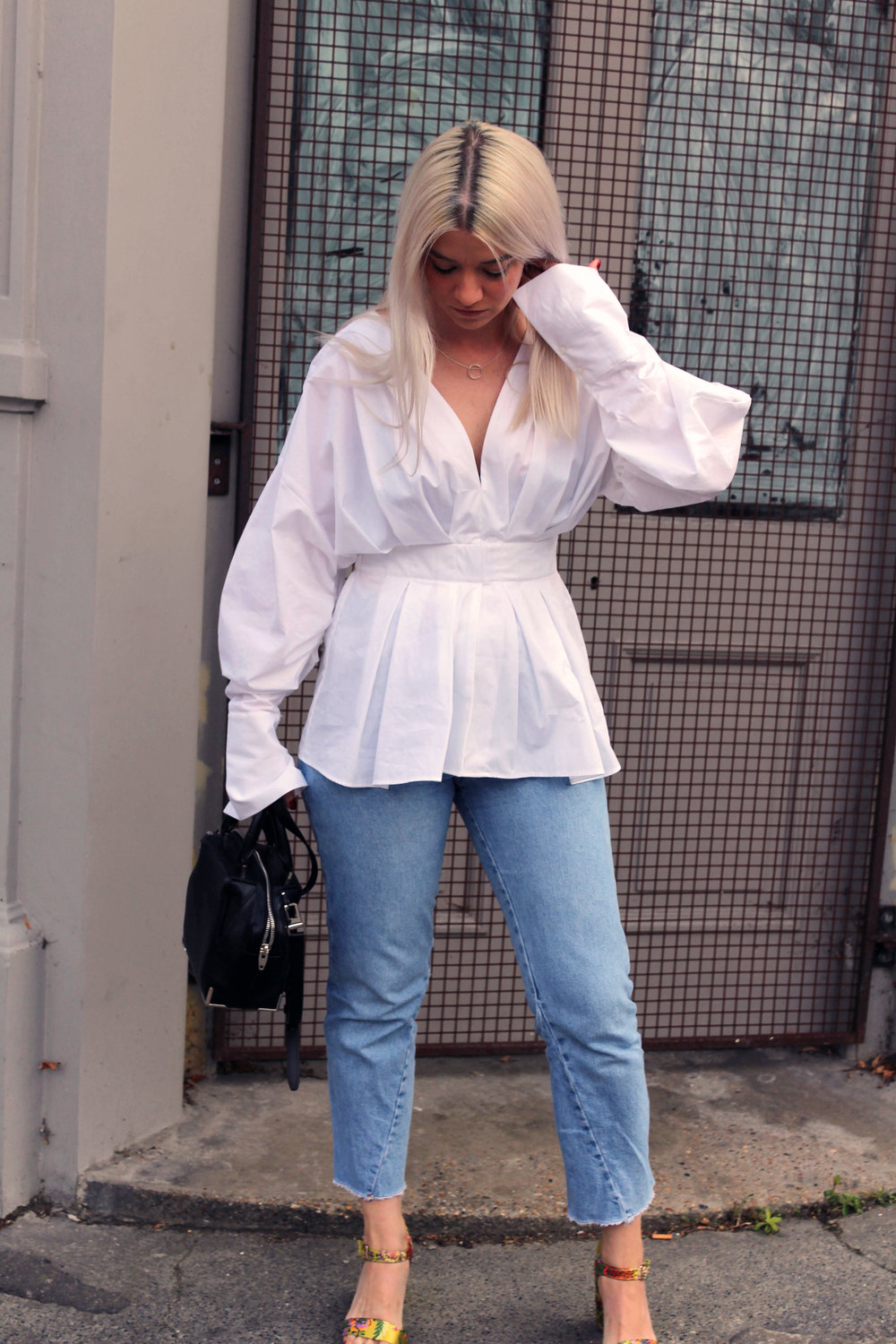 white shirt, topshop jeans, oriental sandals, white blonde hair, northern magpie, joey taylor 4