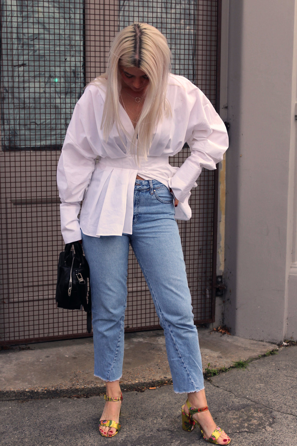 white shirt, topshop jeans, oriental sandals, white blonde hair, northern magpie, joey taylor 6