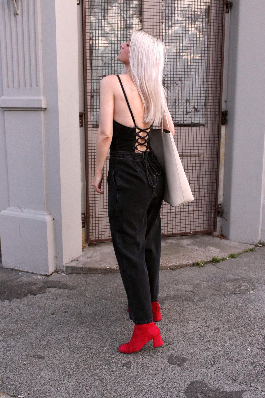 denim jumpsuit, asos denim, red suede boots, northern magpie 6