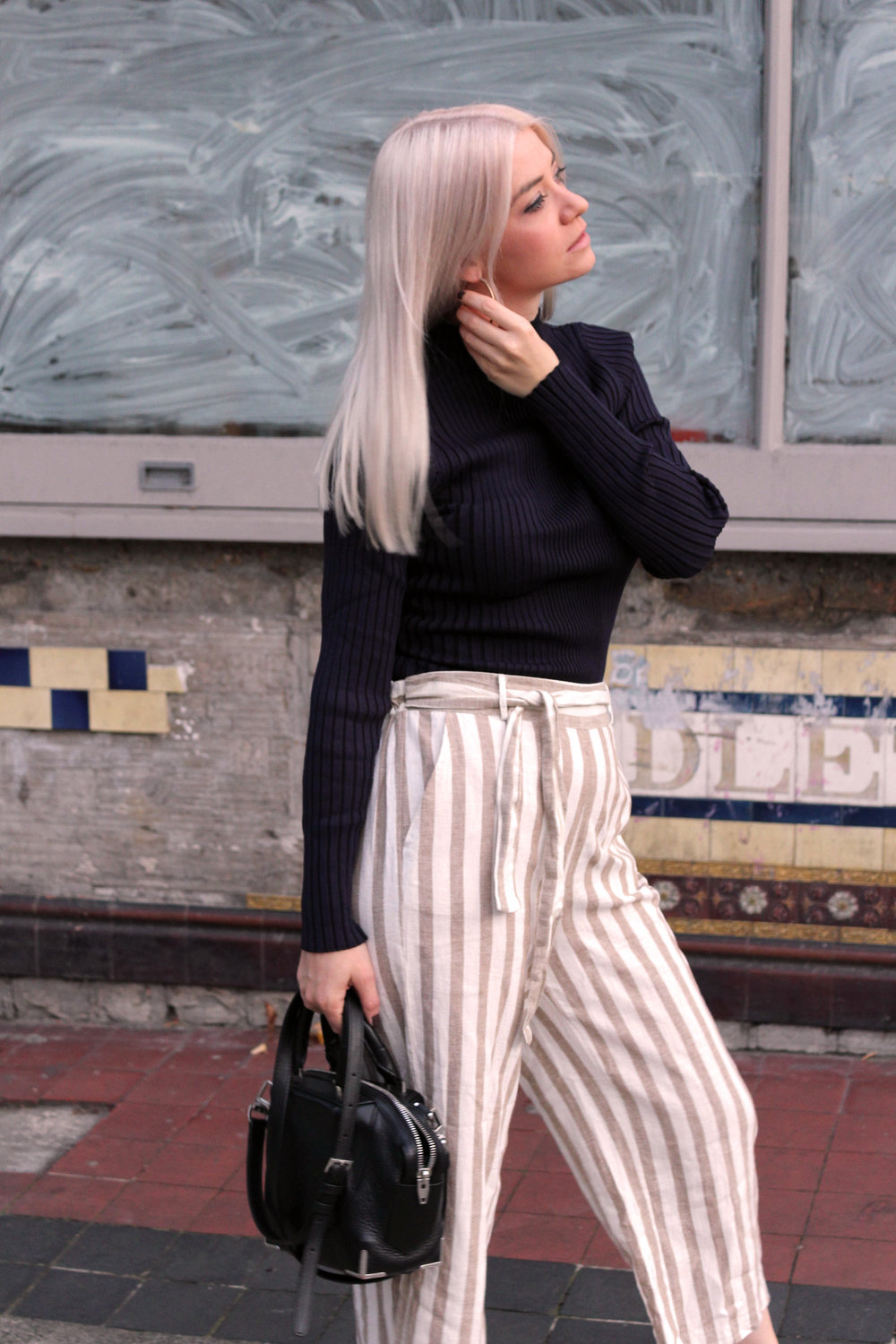 autumn winter 17, new look, striped trousers, ribbed turtle neck, northern magpie, joey taylor 8