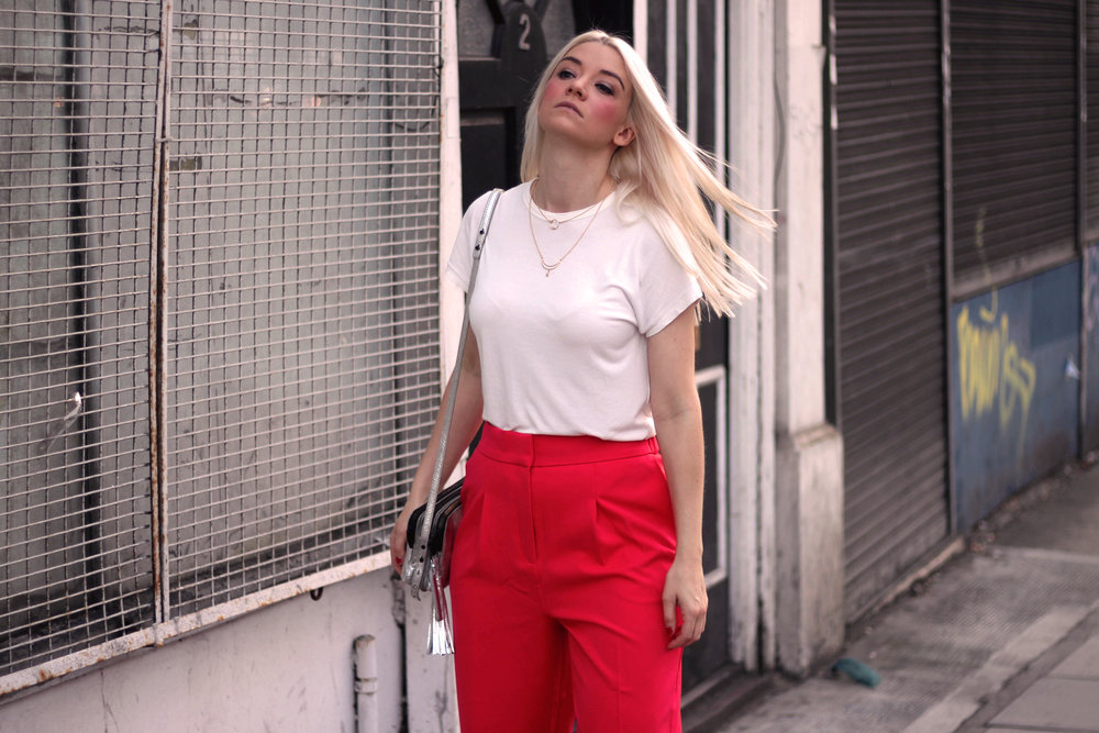 asos red suit, white t-shirt, velvet mules, northern magpie, joey taylor 1