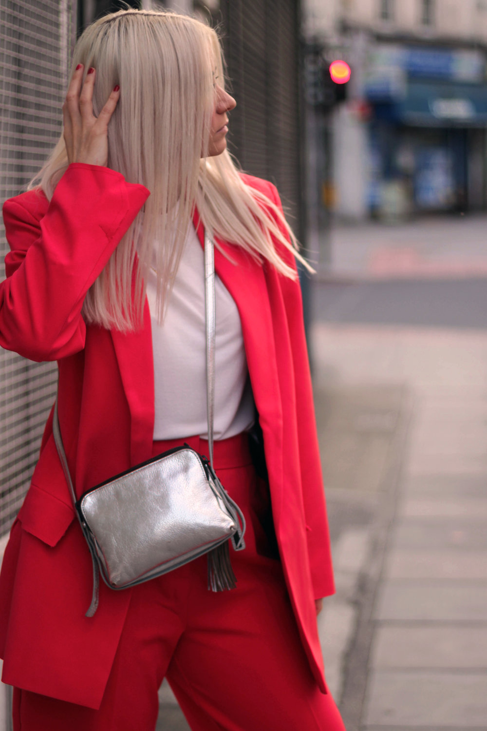 asos red suit, white t-shirt, velvet mules, northern magpie, joey taylor 2