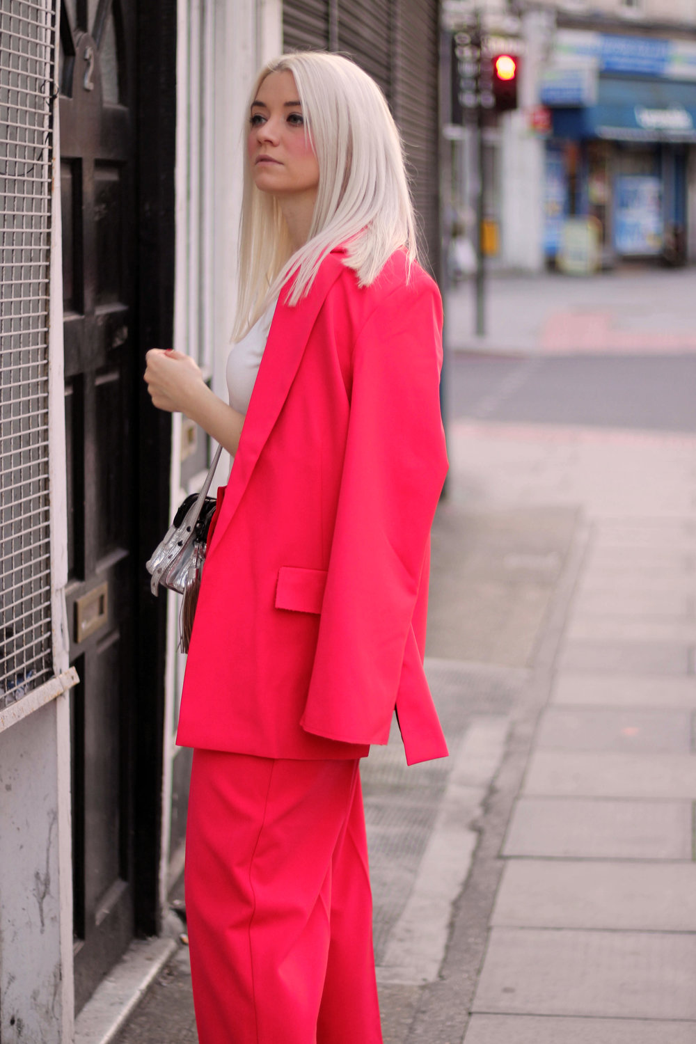 asos red suit, white t-shirt, velvet mules, northern magpie, joey taylor 4
