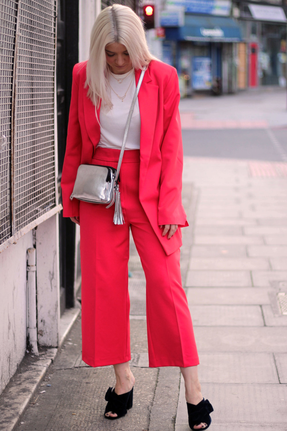 asos red suit, white t-shirt, velvet mules, northern magpie, joey taylor 3