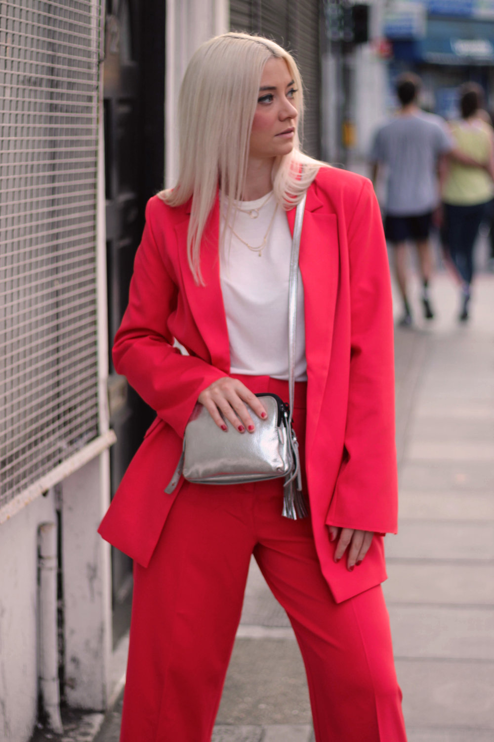 asos red suit, white t-shirt, velvet mules, northern magpie, joey taylor 5