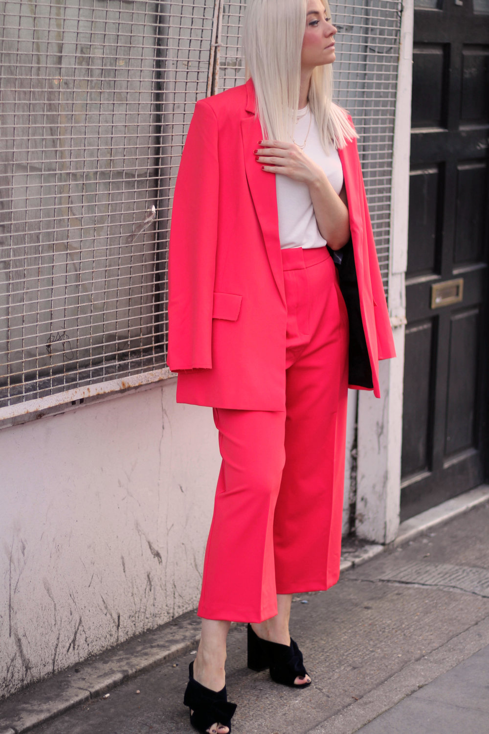 asos red suit, white t-shirt, velvet mules, northern magpie, joey taylor 6