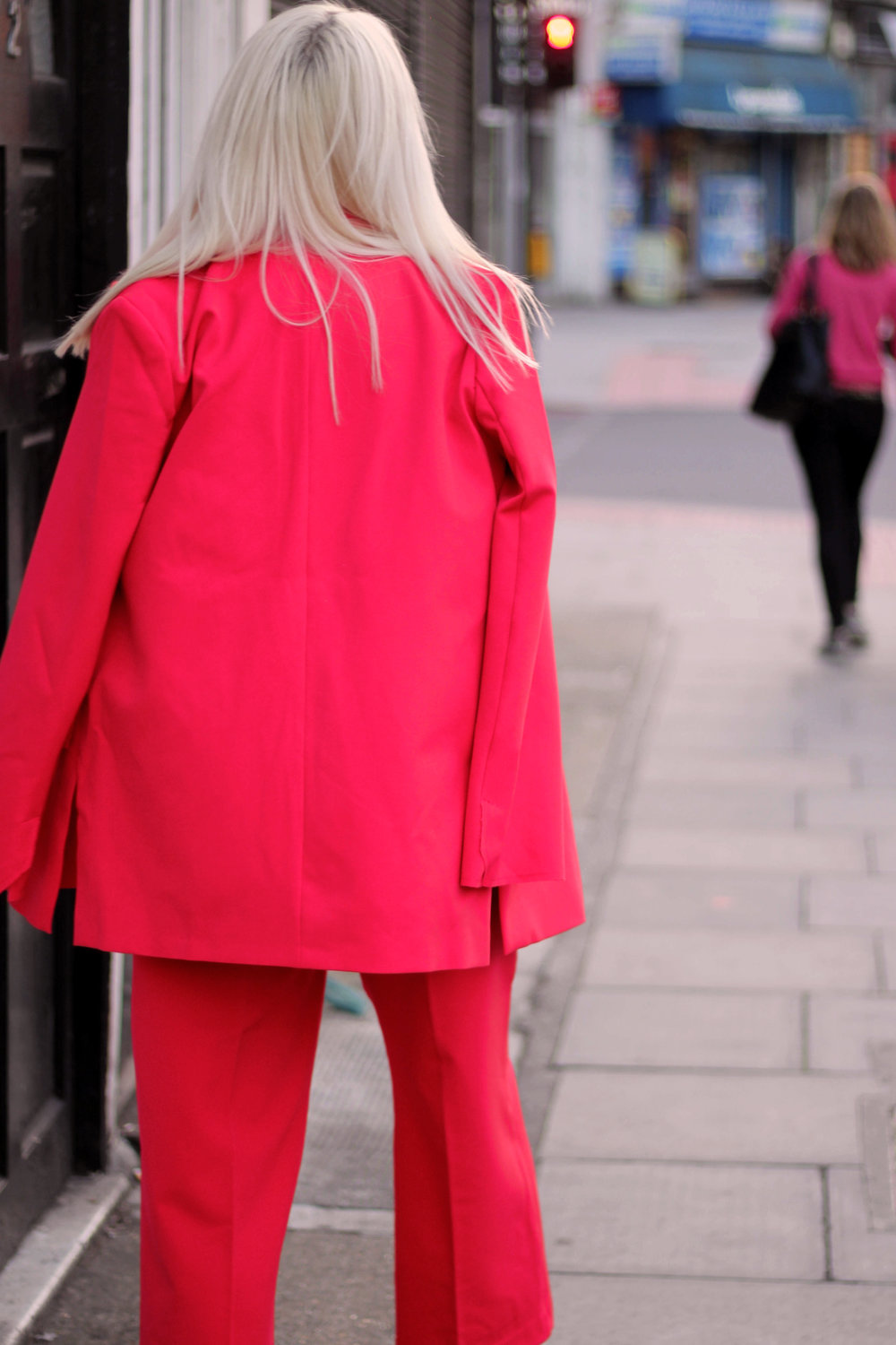 asos red suit, white t-shirt, velvet mules, northern magpie, joey taylor 7