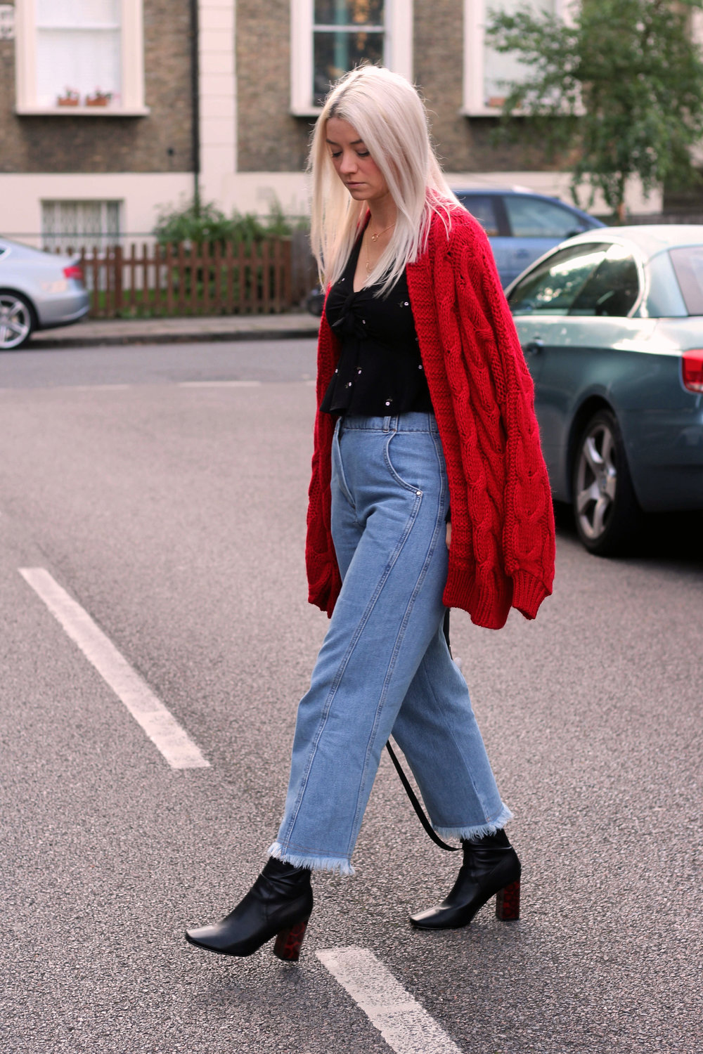 topshop jeans, next red cardigan, tie front ruffle top, ego boots, northern magpie, joey taylor 1