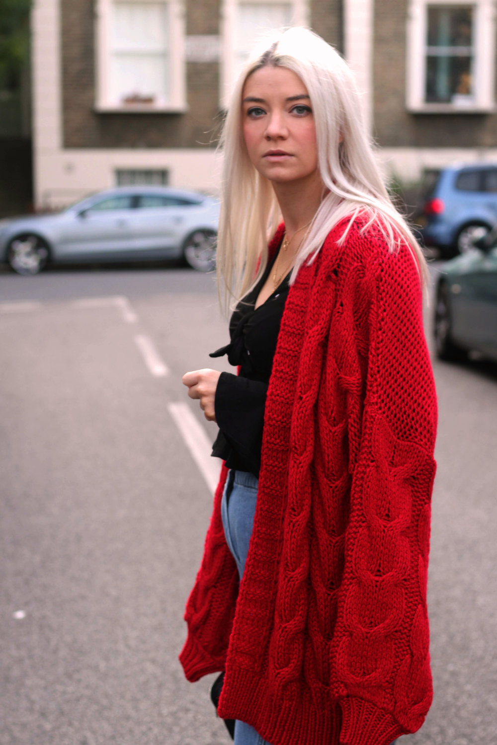 topshop jeans, next red cardigan, tie front ruffle top, ego boots, northern magpie, joey taylor 3