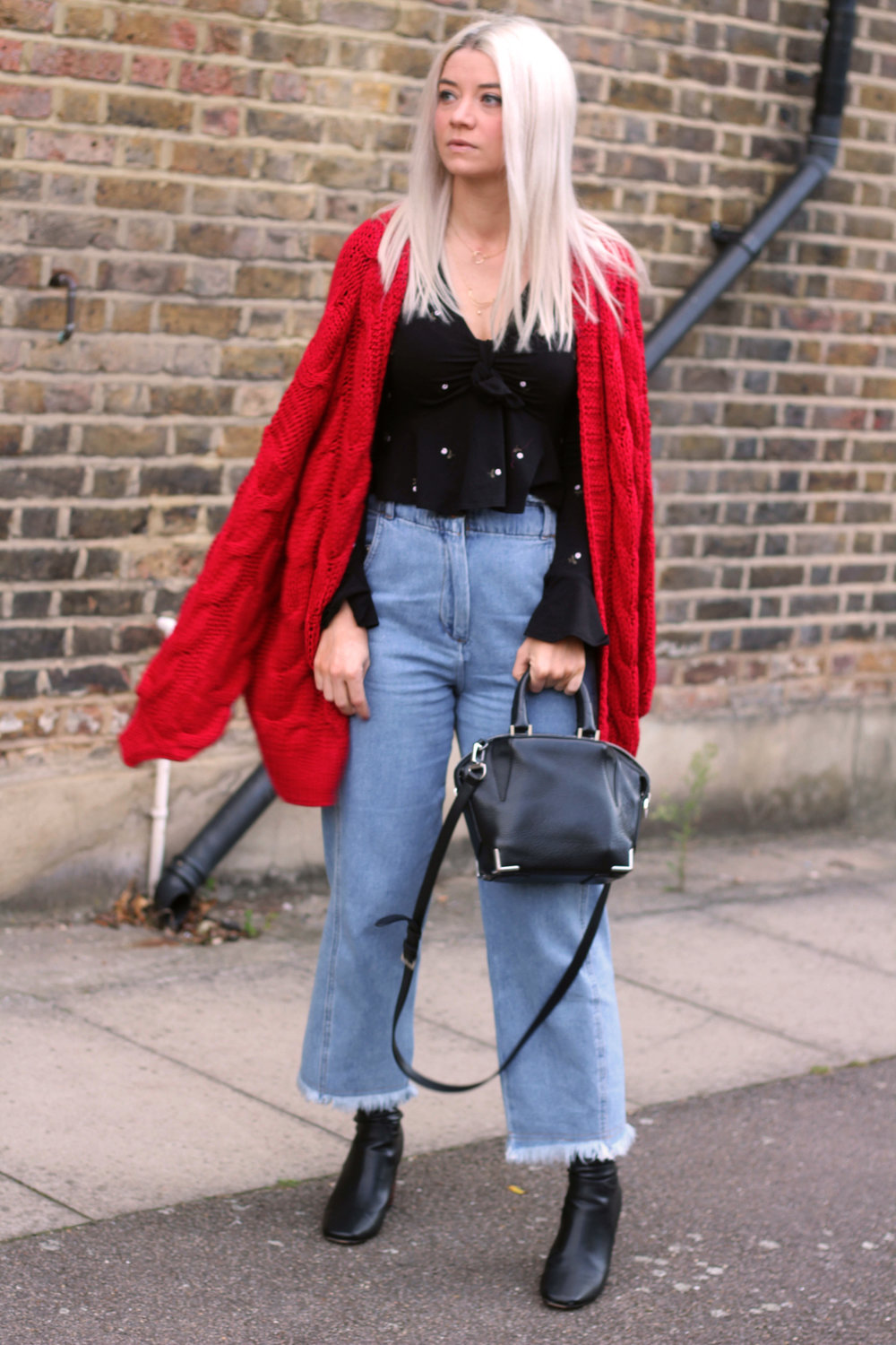 topshop jeans, next red cardigan, tie front ruffle top, ego boots, northern magpie, joey taylor 4