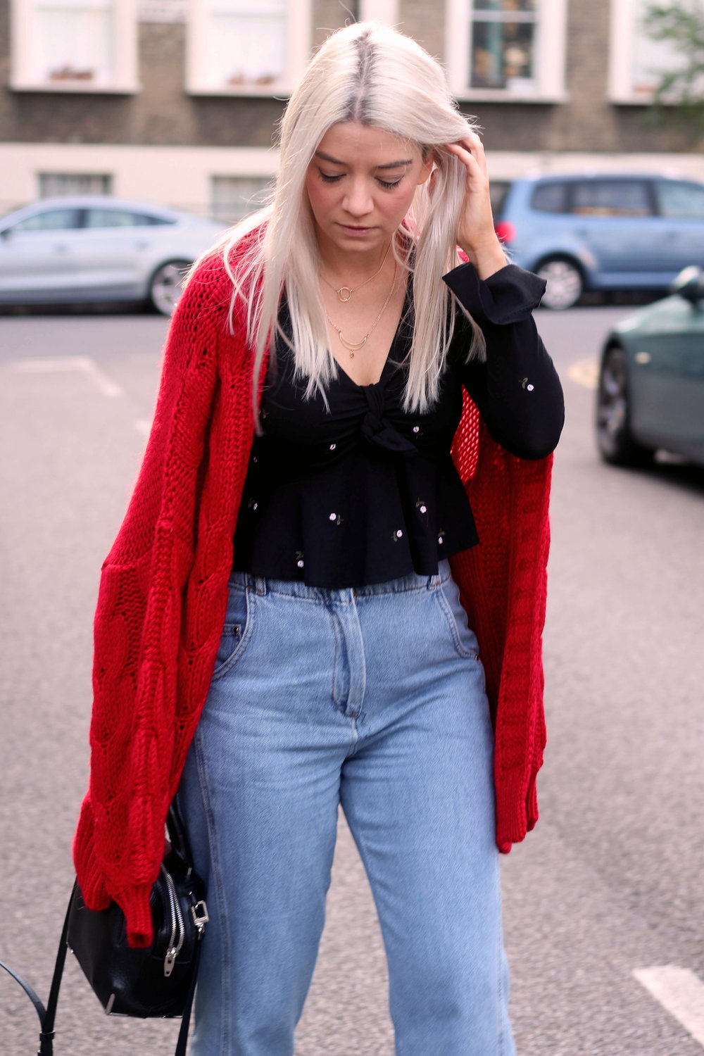 topshop jeans, next red cardigan, tie front ruffle top, ego boots, northern magpie, joey taylor 5