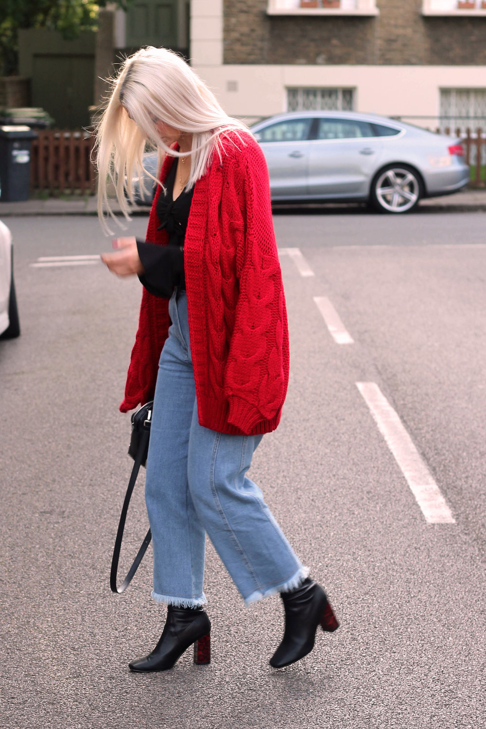 topshop jeans, next red cardigan, tie front ruffle top, ego boots, northern magpie, joey taylor 6