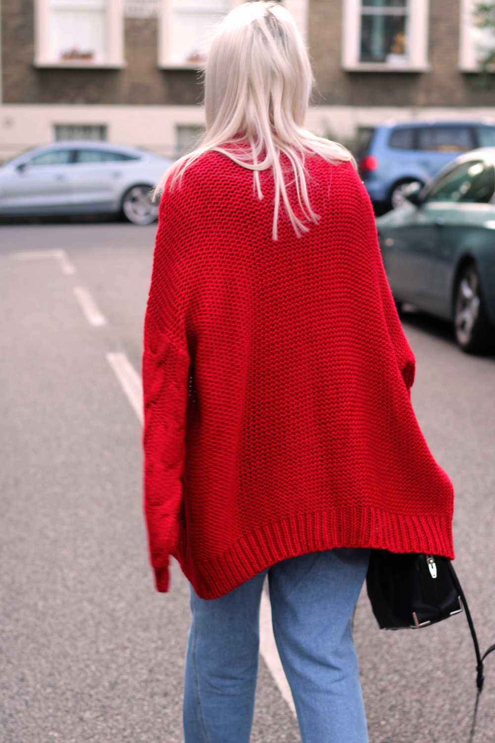 topshop jeans, next red cardigan, tie front ruffle top, ego boots, northern magpie, joey taylor 7