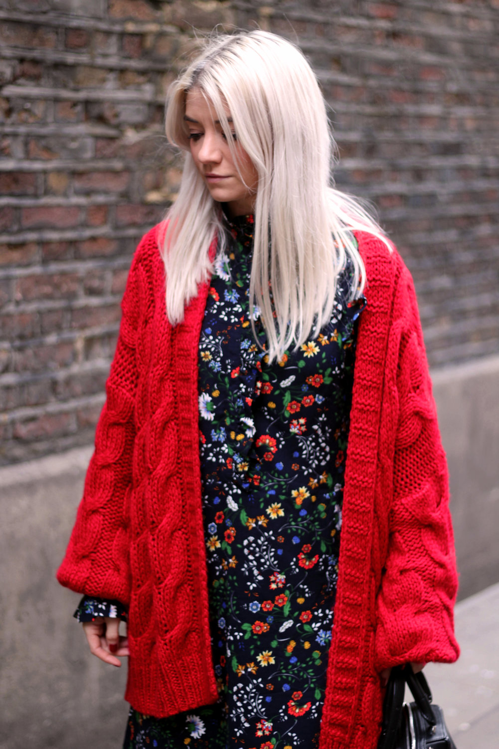 floral midi dress, gucci dress, red cardigan, northern magpie, joey taylor, silver boots 1