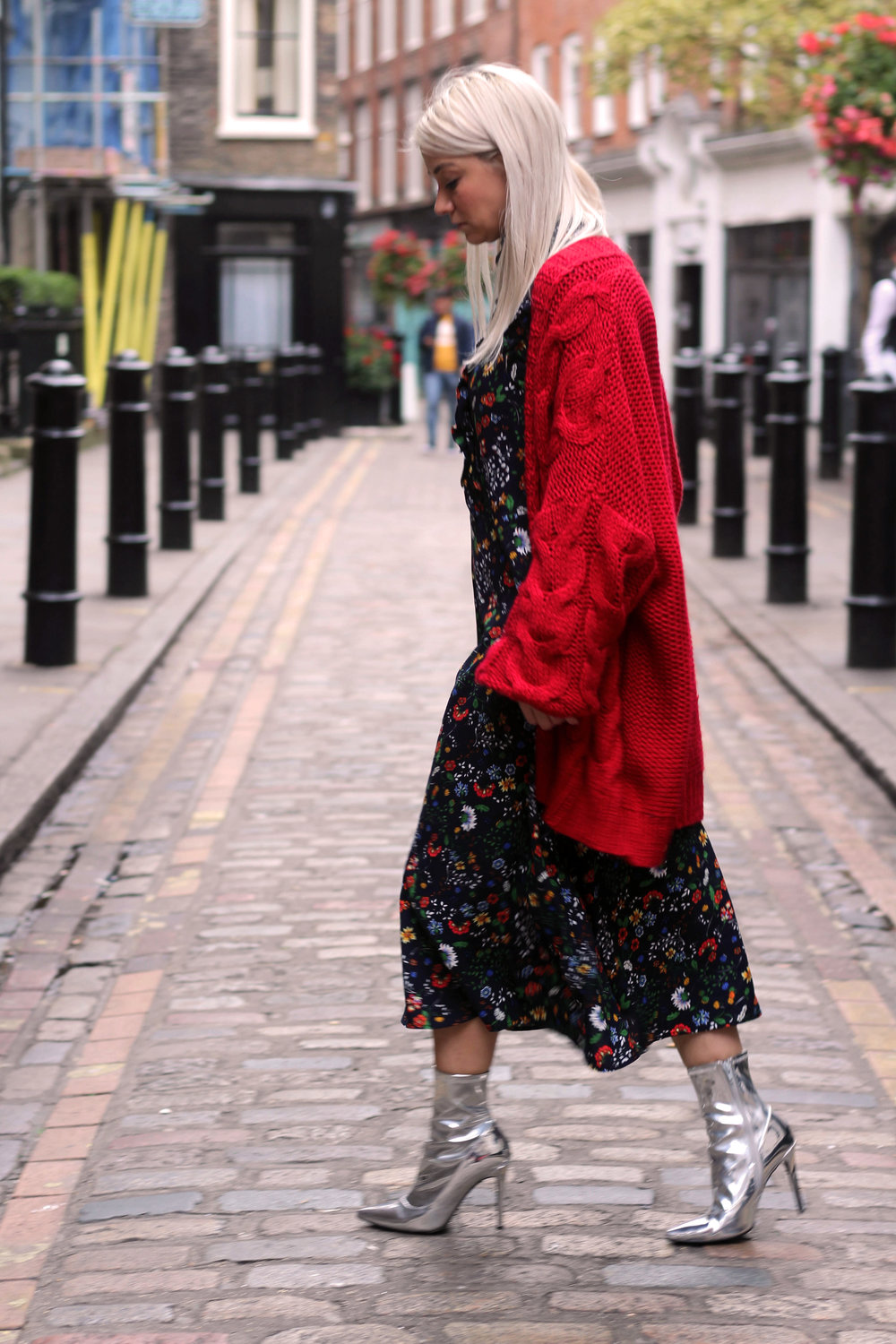 floral midi dress, gucci dress, red cardigan, northern magpie, joey taylor, silver boots 2