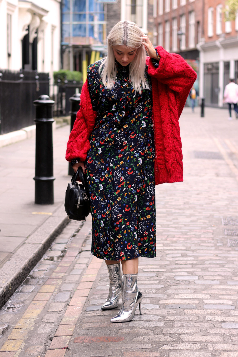 floral midi dress, gucci dress, red cardigan, northern magpie, joey taylor, silver boots 4