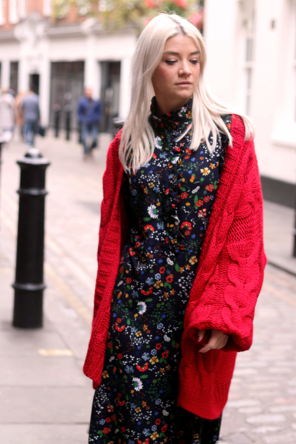 floral midi dress, gucci dress, red cardigan, northern magpie, joey taylor, silver boots 5