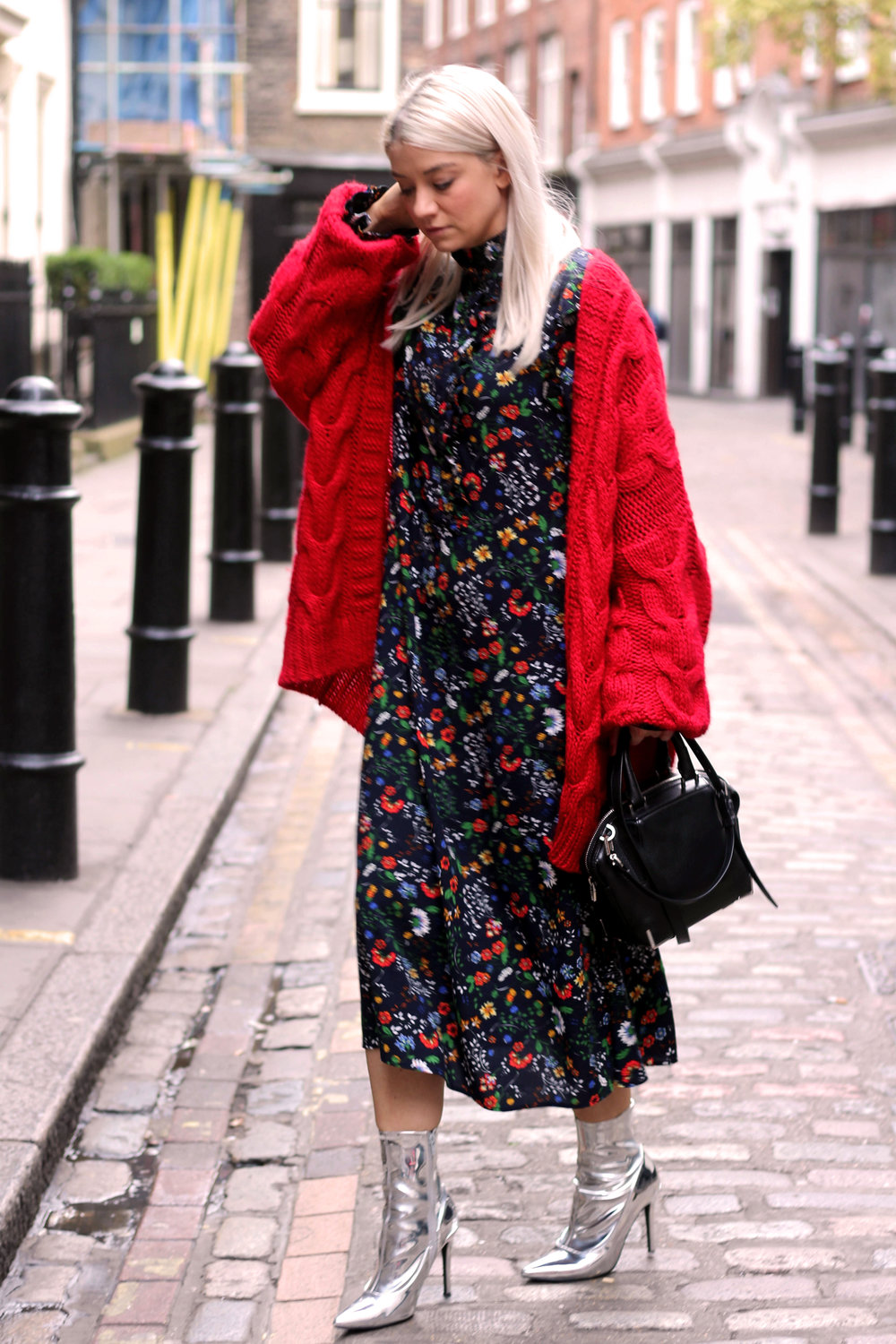 floral midi dress, gucci dress, red cardigan, northern magpie, joey taylor, silver boots 6
