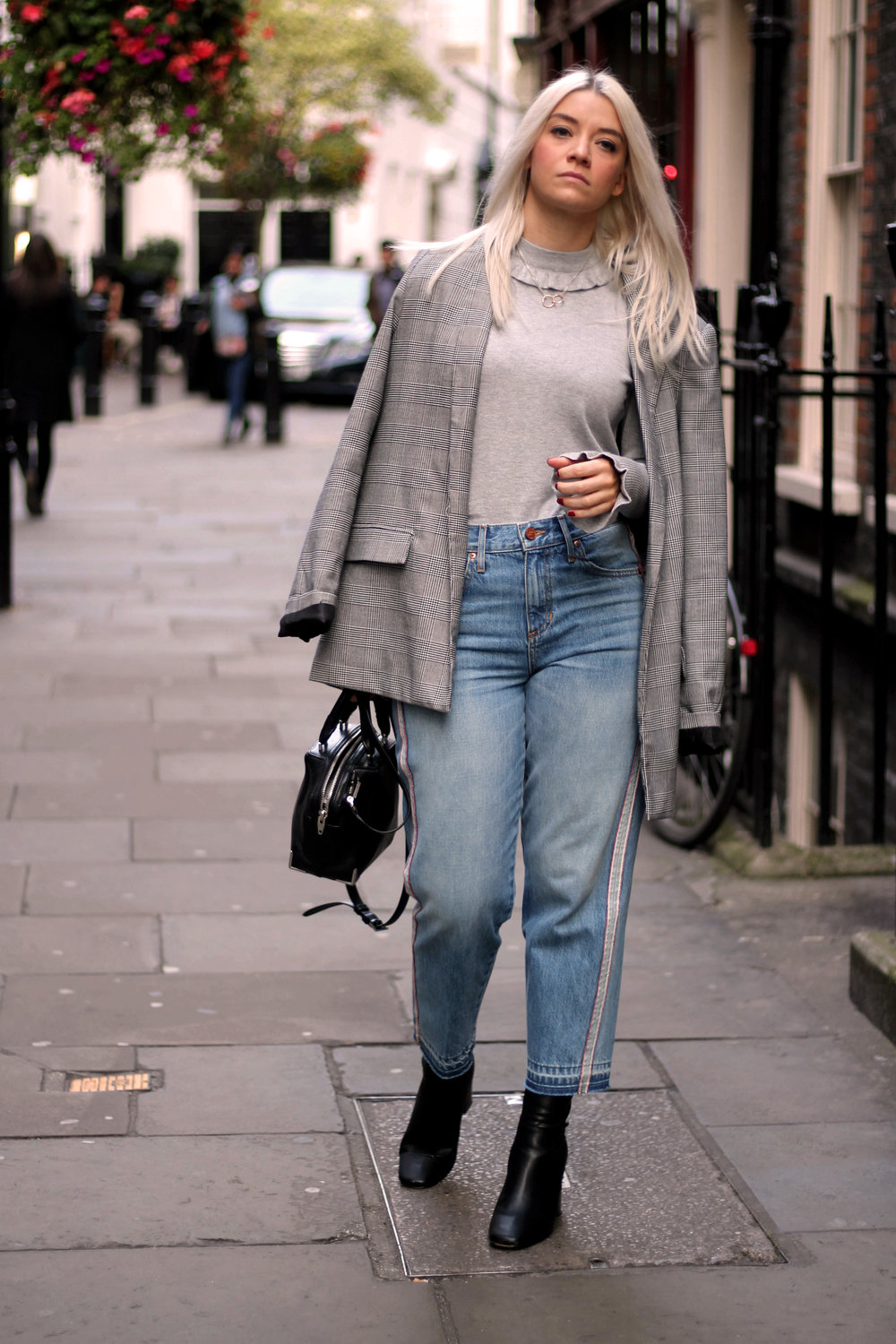 london fashion week, grey ruffle knit, and or jeans, ego boots, northern magpie 1