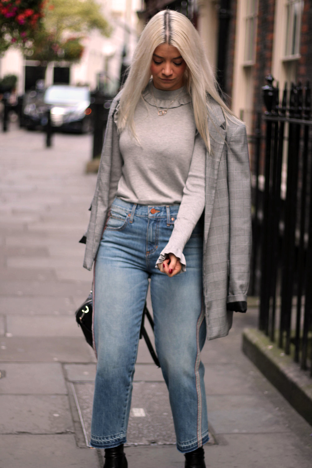 london fashion week, grey ruffle knit, and or jeans, ego boots, northern magpie 3