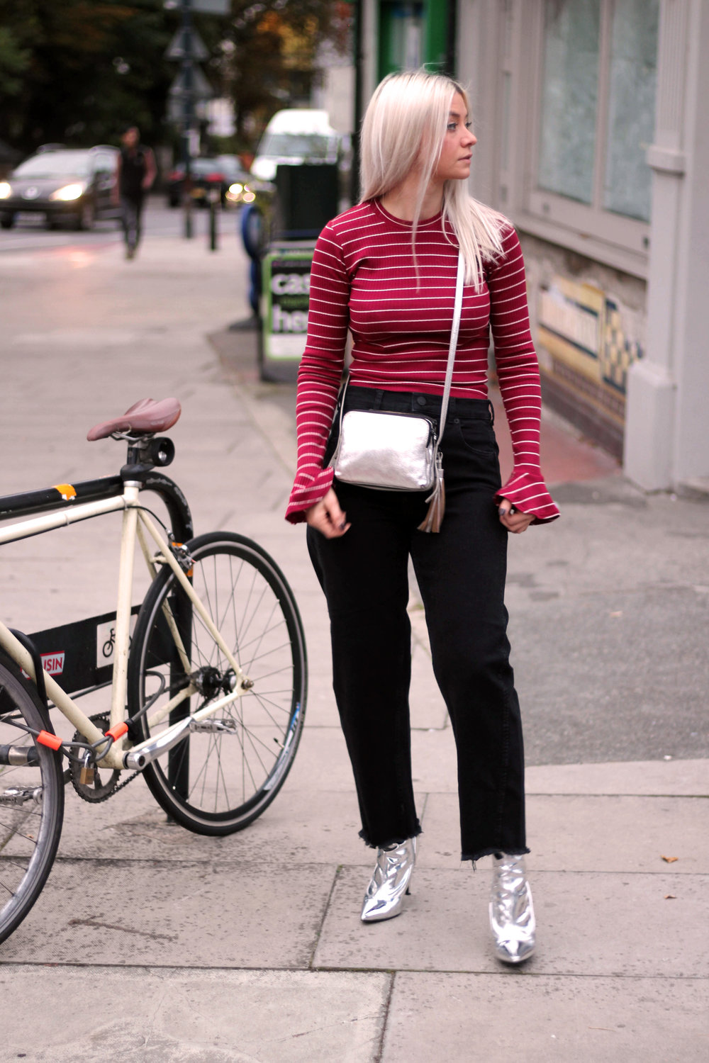 long sleeve stripe top, black mom jeans, white hair, silver metallic boots, northern magpie, joey taylor 1