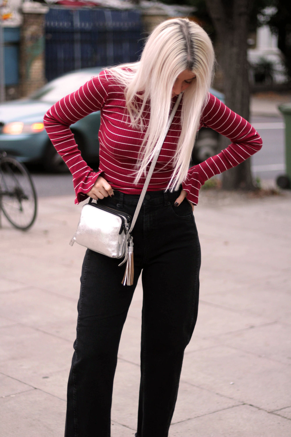 long sleeve stripe top, black mom jeans, white hair, silver metallic boots, northern magpie, joey taylor 5