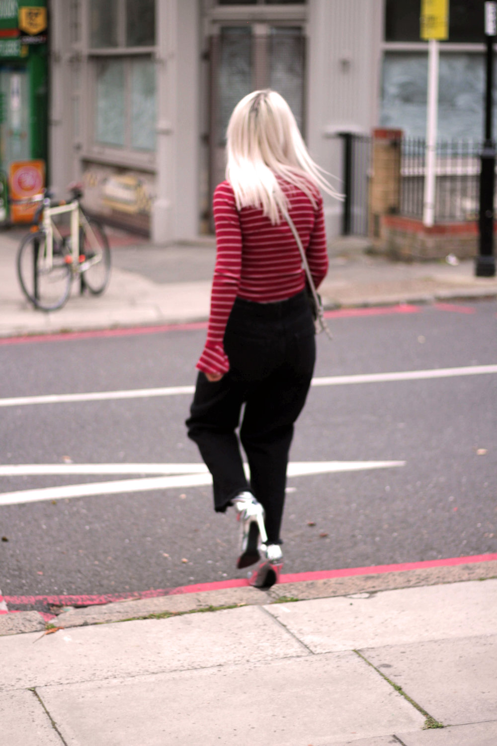 long sleeve stripe top, black mom jeans, white hair, silver metallic boots, northern magpie, joey taylor 6