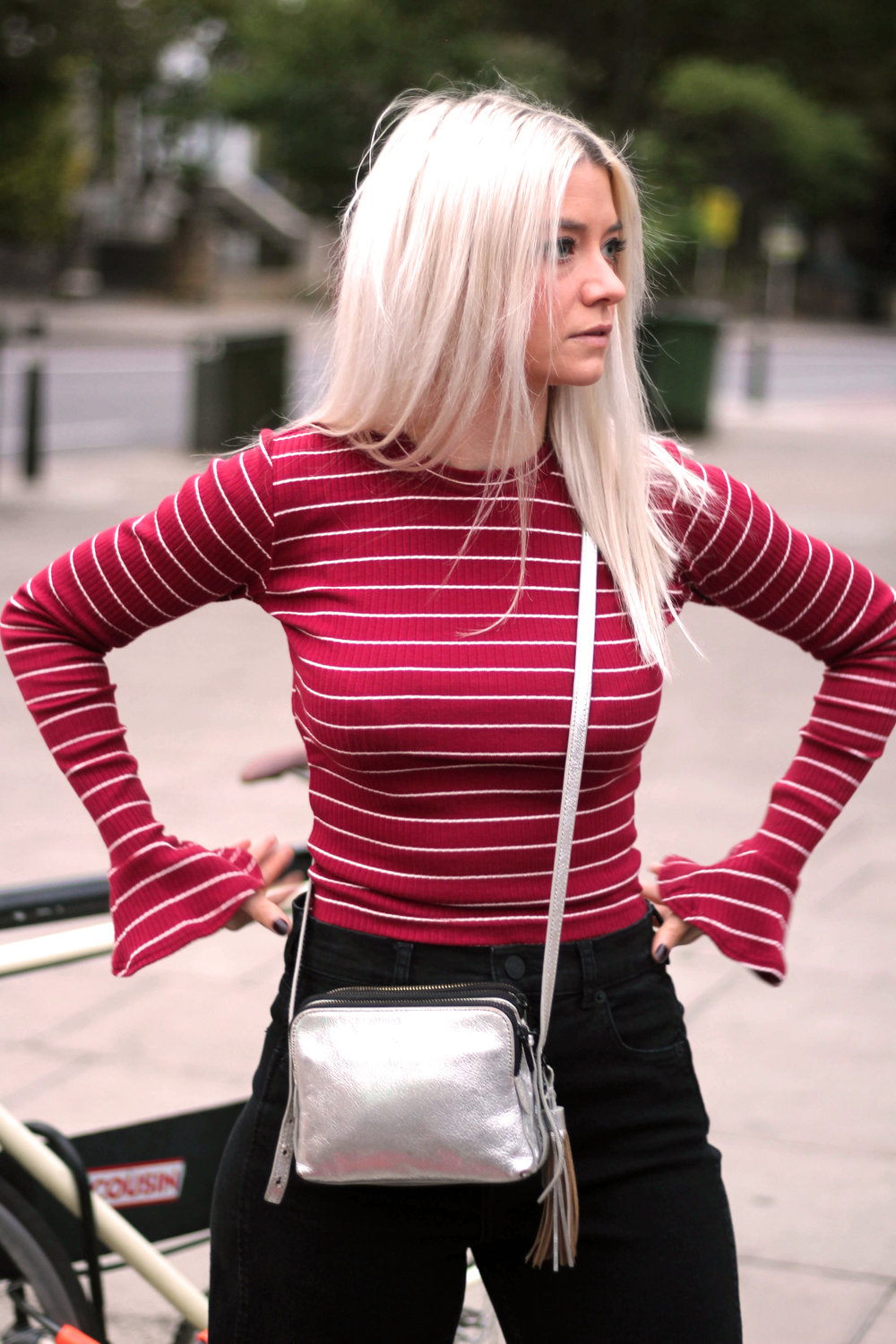 long sleeve stripe top, black mom jeans, white hair, silver metallic boots, northern magpie, joey taylor 7