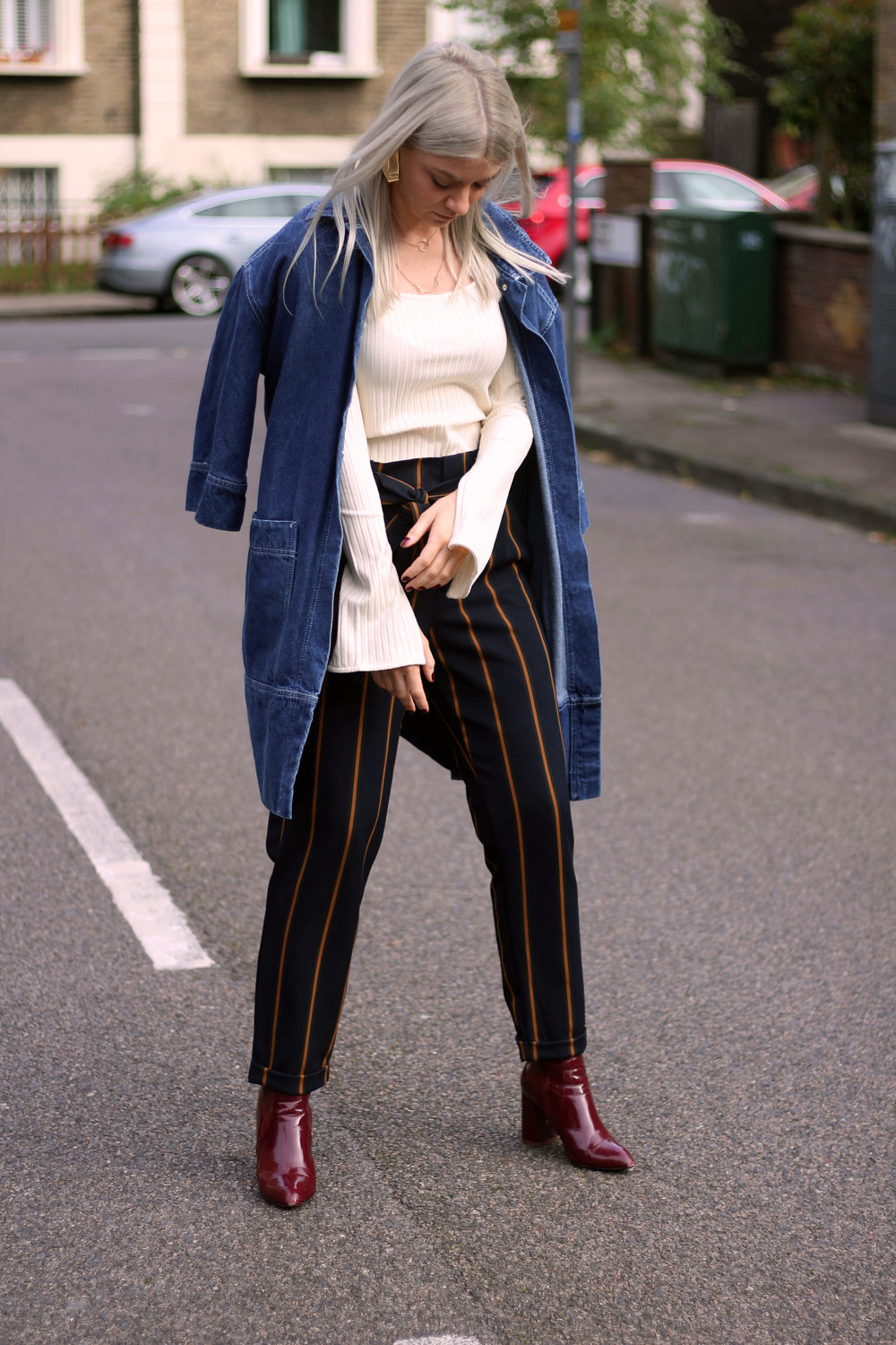 topshop square neck top, zara stripe trousers, public desire boots, northern magpie, joey taylor 2