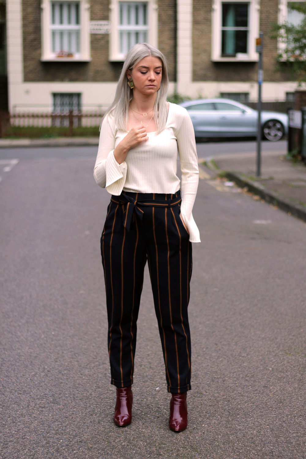 topshop square neck top, zara stripe trousers, public desire boots, northern magpie, joey taylor 4