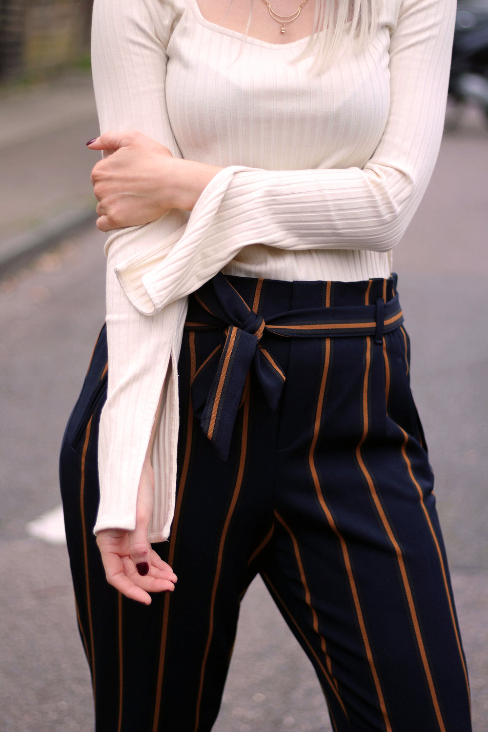topshop square neck top, zara stripe trousers, public desire boots, northern magpie, joey taylor 3
