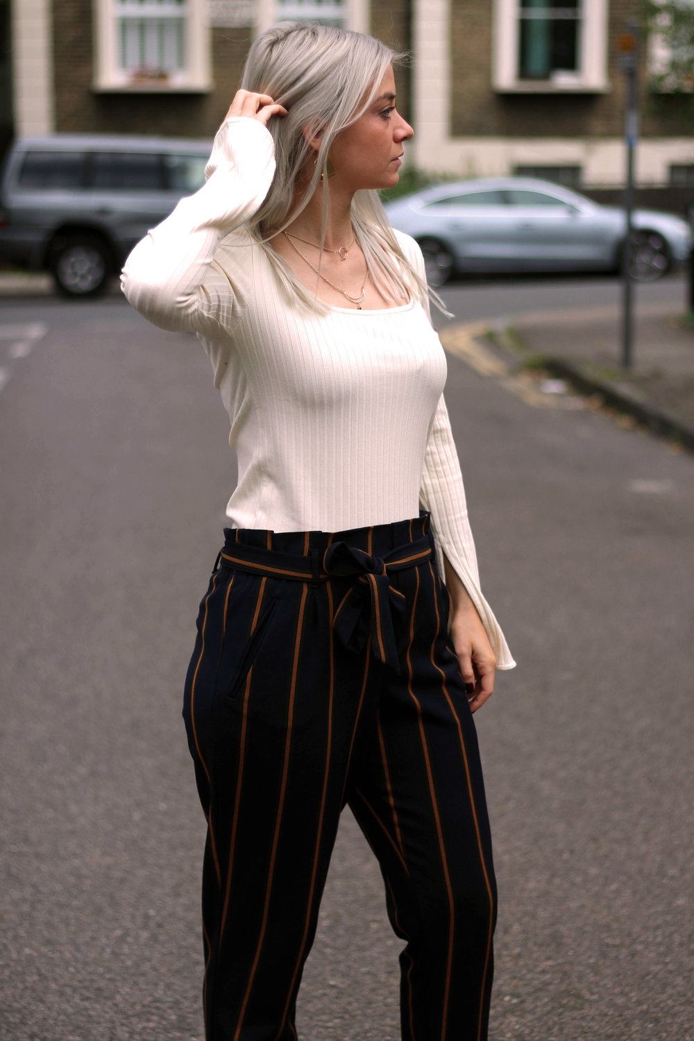topshop square neck top, zara stripe trousers, public desire boots, northern magpie, joey taylor 5