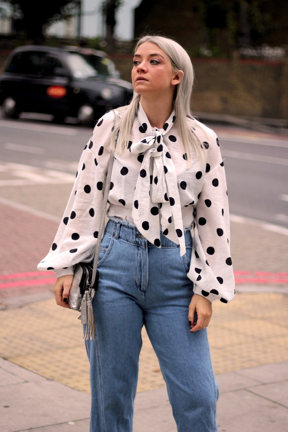 PUSSY BOW POLKA DOT BLOUSE, WIDE LEG FRAYED TOPSHOP JEANS, BLACK ANKLE BOOTS, NORTHERN MAGPIE, JOEY TAYLOR 1