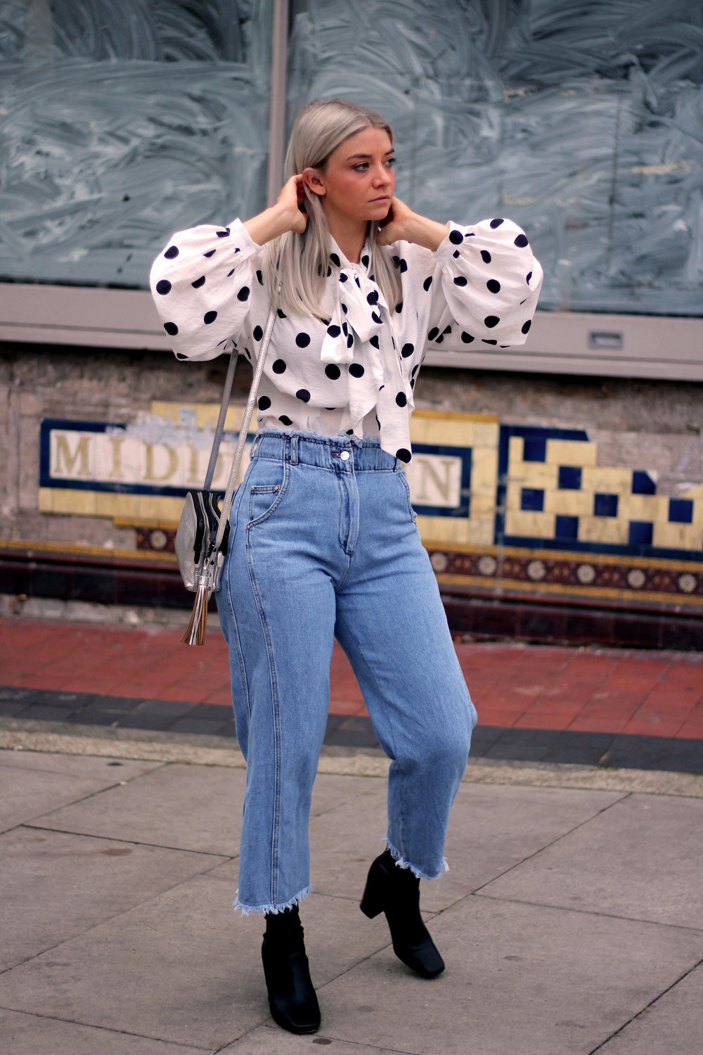 PUSSY BOW POLKA DOT BLOUSE, WIDE LEG FRAYED TOPSHOP JEANS, BLACK ANKLE BOOTS, NORTHERN MAGPIE, JOEY TAYLOR 2