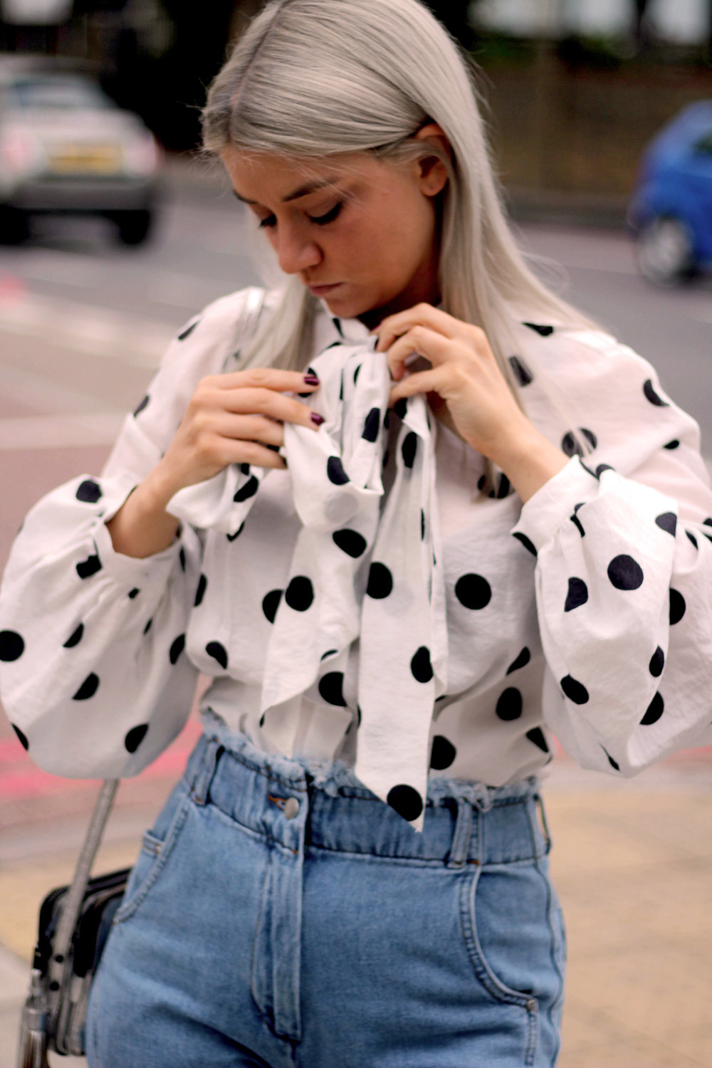 PUSSY BOW POLKA DOT BLOUSE, WIDE LEG FRAYED TOPSHOP JEANS, BLACK ANKLE BOOTS, NORTHERN MAGPIE, JOEY TAYLOR 3